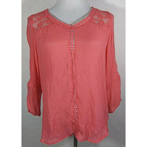 Zac and Rachel Small Top Pink Floral Embroidered